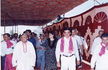 President (Mr. Mathurbhai Savani) with cheif guest(Shri. Menaka Gandhi)at Bagdana Samelan.
